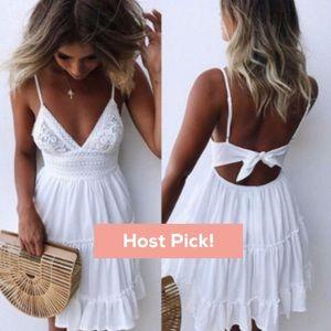 HP! Boho white mini sleeveless tie-back sundress